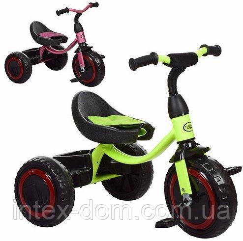 Трехколесный велосипед Turbotrike (M 3649-M-1) с пенополиуретановыми колесами (Лимонный)