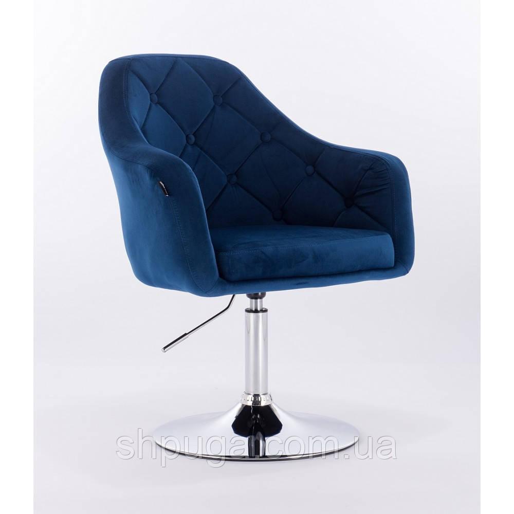 Кресло  HR 831 велюр синее