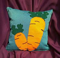 """Подарочная подушка """"Морковка"""" флок"""