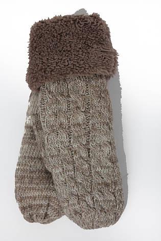 Вязаные женские варежки меланж, фото 2
