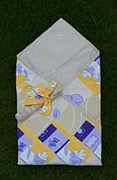 Конверт-одеяло для новорожденных Желто-фиолетовое