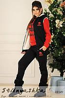 Теплый костюм тройка Timberland черный с красным