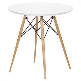 Стол обеденный Тауэр Вуд круглый 80*80 белое дерево (СДМ мебель-ТМ)