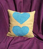 """Подарочная подушка """"Два сердечка"""" флок"""
