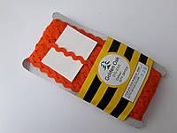 """Тасьма зигзаг ( в""""юнчик )  5-6 мм, ( 30 метрів) оранжева насичена"""