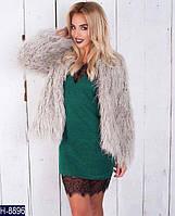Стильное зеленое мини платье с гепюром. Арт-11132
