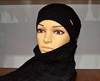 Зимний вязаный комплект шапка и шарф черного цвета