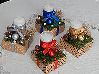 Подсвечник новогодний со свечой ручная работа разные цвета