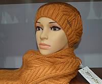 Зимний комплект для девушки шапка и шарф оранжевого цвета
