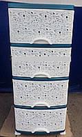 Комод пластиковый ажурный с закрытыми боками бело зелёный 4 отделения