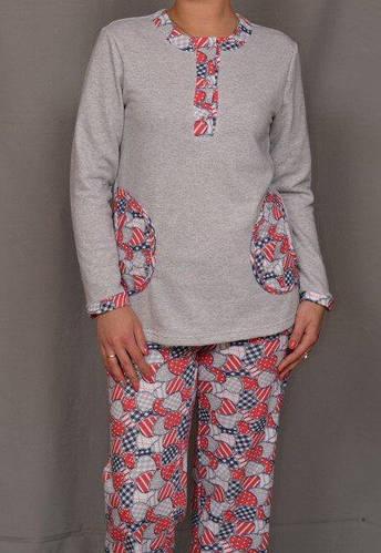 Женская пижама с начесом хлопковая кофта с брюками