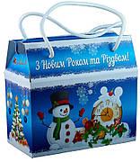 Картонная упаковка с дополненной реальностью, Саквояж новогодний, 16,5х8,5х15см
