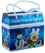 Картонная упаковка Саквояж новогодний, 16,5х8,5х15см