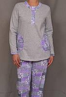 Пижама с начесом женская хлопковая теплая кофта с брюками Украина