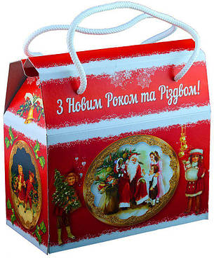 Картонная упаковка для конфет, Саквояж новогодний Ретро, 16,5х8,5х15см, фото 2