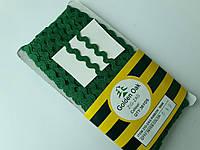"""Тасьма зигзаг ( в""""юнчик )  5-6 мм, ( 30 метрів) зелений темний"""