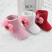 Детские розовые пинетки ботиночки для весны или осени для девочки 3, 6, 9, 12, 18 месяцев, фото 1