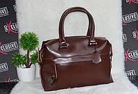 Шоколадная сумка из натуральной кожи саквояж.