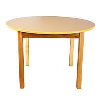 Стол деревянный цветной ваниль c круглой столешницей