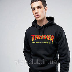 Толстовка черная Thrasher new | худи Трешер | кенгуру трашер