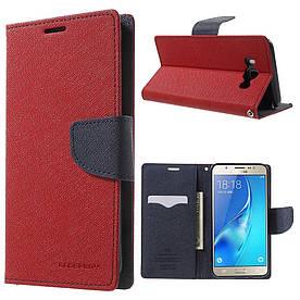 Чехол книжка для Samsung Galaxy J7 2016 J710 боковой с отсеком для визиток, Mercury GOOSPERY Красный