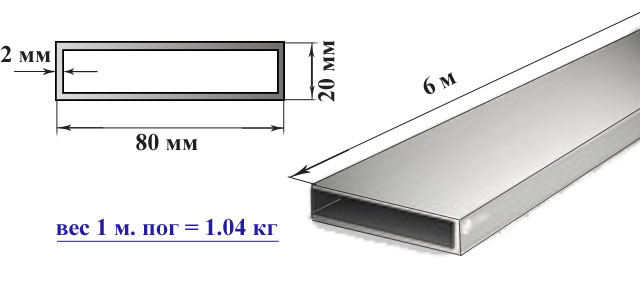 Алюминиевый бокс труба прямоугольная 80х20х2 мм
