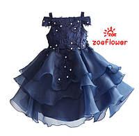 Детские нарядные платья. Синее праздничное плате для девочки