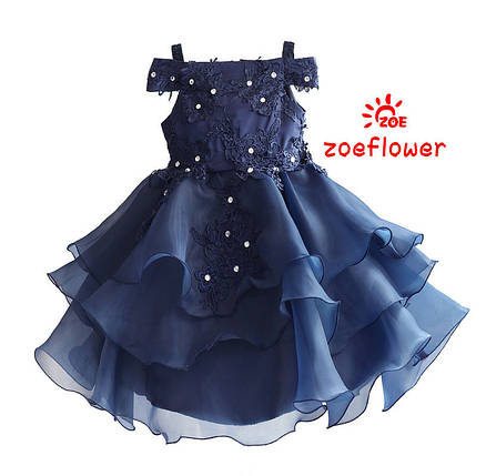 19a85cc26dc1339 Детские нарядные платья. Синее праздничное плате для девочки, фото 2