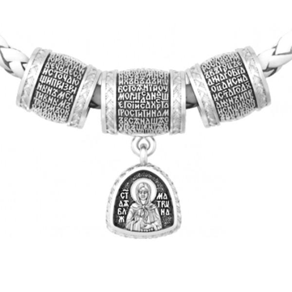Шарм Бусины серебряные с молитвой Матроне Московской Б236-R