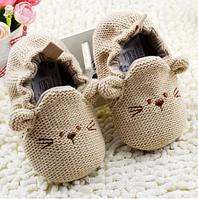 Детские вязанные пинетки для дома (утепленные) для новорожденного мальчика, девочки 3, 6, 9, 12, 18, фото 1