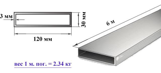 Алюминиевая прямоугольная труба (бокс) 120х30х3 мм