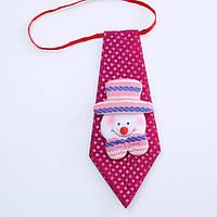 Краватка новорічний зі сніговиком