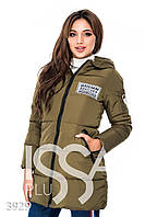 Ledi M Женская приталенная дутая курточка IS 3929 хаки Леди М