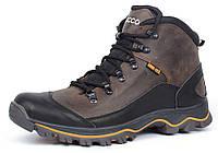 Ботинки мужские зимние кожаные на меху Ecco Gore-tex хаки, Хаки, 40