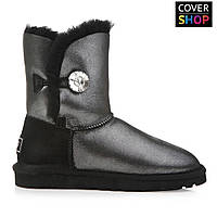 Женские угги UGG AUSTRALIA - bailey button bling, black glitter. 100% овчина