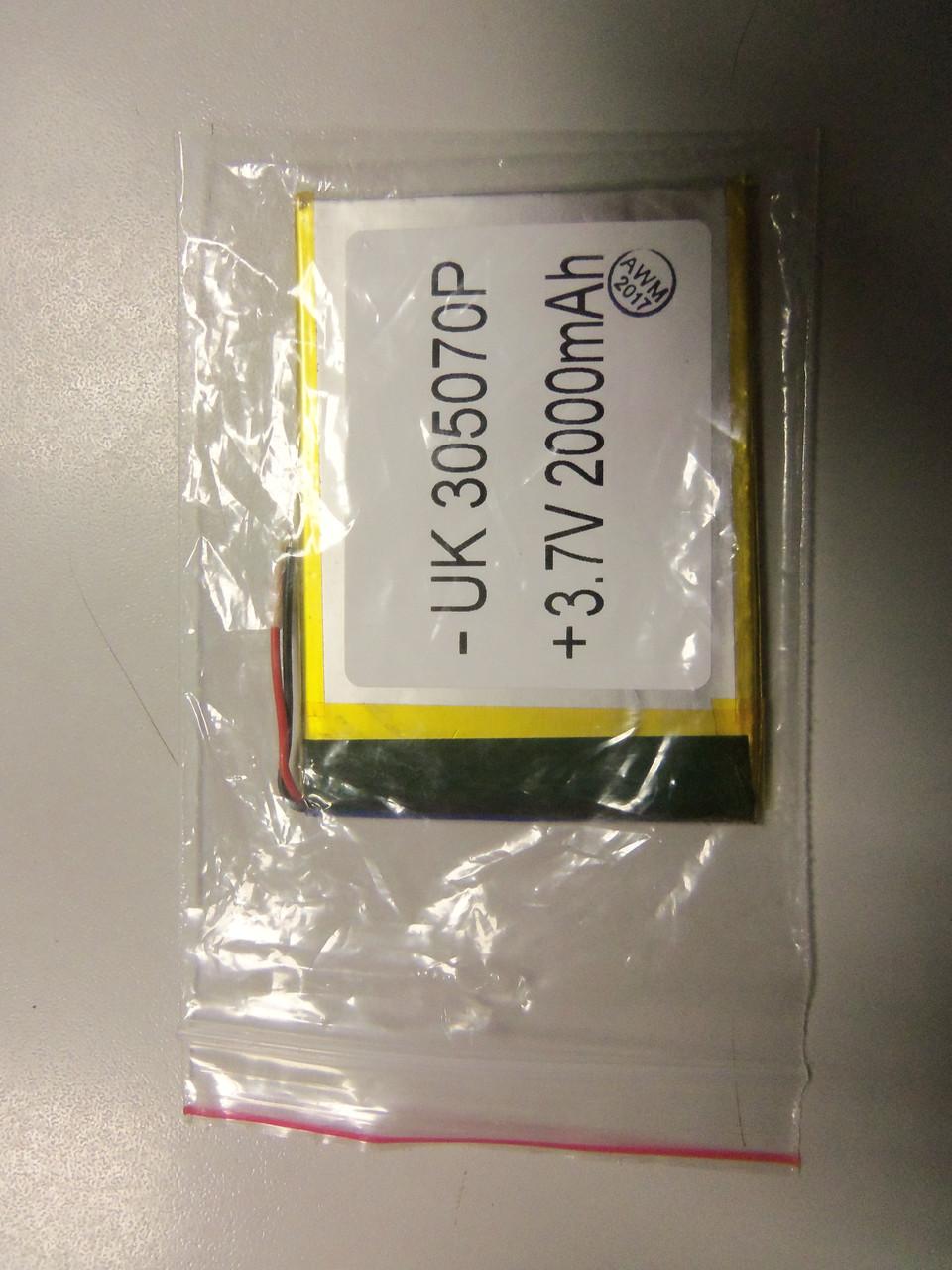 Внутрішній Акумулятор 3*50*68 (2000 mAh 3,7 V) 305070 AAA клас в Запоріжжі