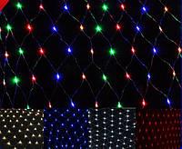 Гирлянда сетка светодиодная, 120 Led, 1,5x1,5 м, прозрачный провод
