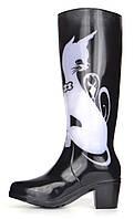 Резиновые сапоги женские высокие на каблуке черные с кошкой Kitty couture, Черный, 41