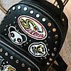Молодежный черный рюкзак с заклепками и нашивками, фото 10