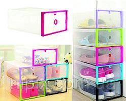 Складной пластиковый органайзер-контейнер для хранения обуви