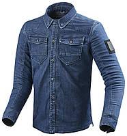 Мото рубашка с защитой Revit Hudson джинс синяя, L, фото 1