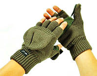 Перчатки-варежки с откидывающимся верхом вязаные олива