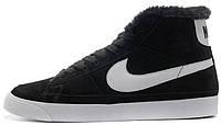 Зимние женские высокие кроссовки Nike Blazer High Fur Black White (найк) с мехом черные