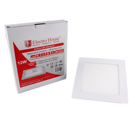 Светильник светодиодный встраиваемый ElectroHouse 12W 4100К 1080Lm 170х170мм (EH-LMP-3400), фото 2