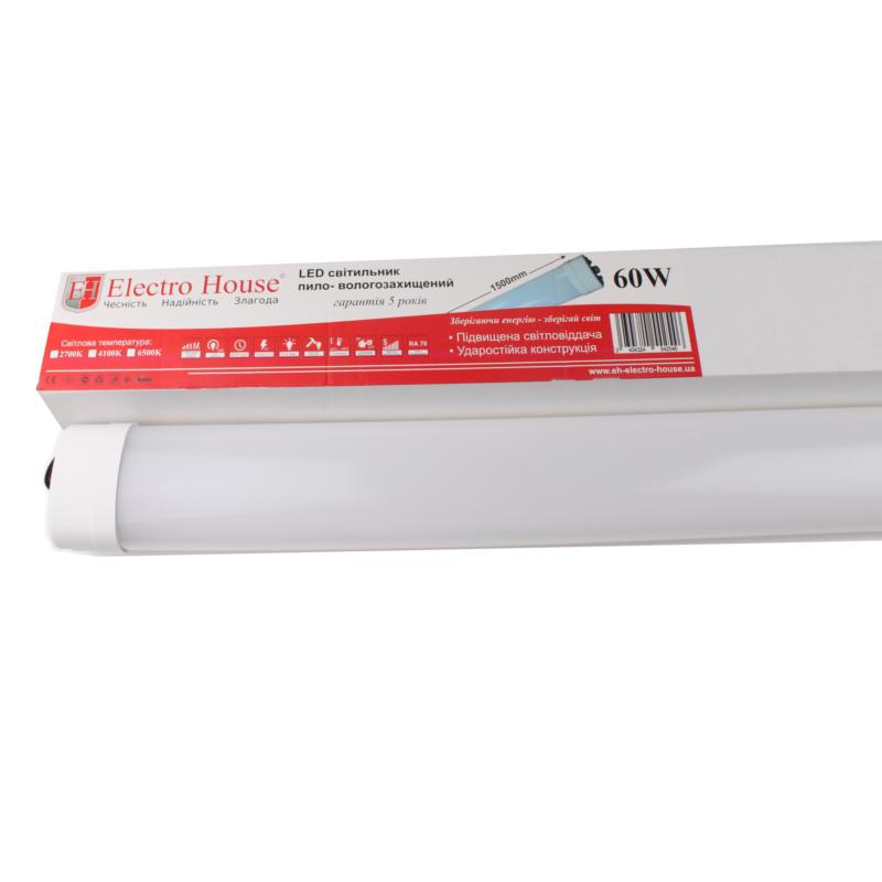 Светодиодный линейный светильник ElectroHouse ПВЗ 60W 1500мм 6500K 4800Lm IP65 (EH-LT-3042)