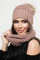Комплект шапка с натуральным помпоном и хомут ХЕЛЕН ЕНОТ