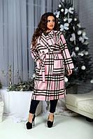 Женственное демисезонное кашемировое пальто батал