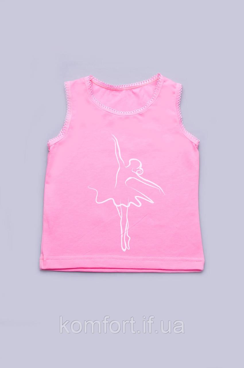 Майка для девочки однотонная с широкими бретельками (розовая)
