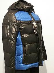Пуховик мужской короткий черно-синий