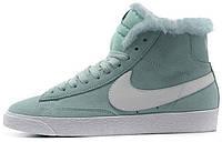 Зимние женские высокие кроссовки Nike Blazer High Fur Mint (найк) с мехом голубые